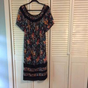 Loft floral midi gathered dress